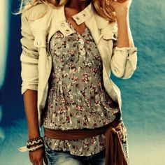 floral print and white jacket