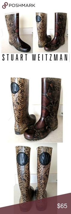 84%off Snakeskin Wellies Stuart Weitzman Boots These beautiful Stuart Weitzman rainboots are perfect for the upcoming rainy weather! Faux snakeskin decorates entire rubber boot, Stuart Weitzman logos on back heel and back calf. Ridges in outsole provide grip and support. Come up to mid-shin  Size M, fits 6.5-7 perfectly. Dress up or down with leggings and sweaters... Possibilities are endless. In EXCELLENT condition NO DAMAGES. Grab yours for less and look sexy in Stuart Weitzman! Stuart…