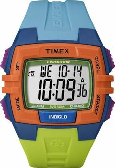 Timex Unisex T499229J  Expedition Rugged Digital Chrono Alarm Timer Color Block Resin Strap Watch Timex. $54.95. Indiglo night light with night mode feature. Water-resistant to 50 M (165 feet). Three daily, weekday, weekend or weekly alarms with five-minute backup. Two time zone settings. 100-hour chronograph with lap and split times, 99-lap counter, 100-hour countdown timer