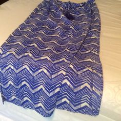 Maxi Skirt. Light and breezy✨✨ Brilliant blue and white maxi/midi skirt.  Not real long but longer than midi. Side slits.  Has tag, never worn. J. Crew Skirts Midi