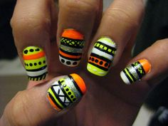 Neon Tribal Nails | Flickr - Photo Sharing!