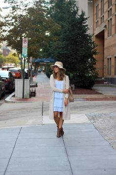 Early Fall Outfit idea, blue shift dress, duster, justfab booties via Glassofglam.com