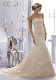 2676 Bridal Gowns / Dresses 2676 Embroidered and Venice Lace Appliques on Net Trimmed with Intricate Beading