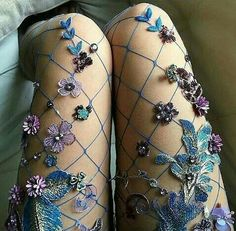 They're honestly fit for a goth fairy queen. They're honestly fit for a goth fairy queen. Sparkly Tights, Fishnet Tights, Fishnet Stockings, Nylons, Sparkly Clothes, Floral Tights, Pretty Clothes, Fairy Queen, Rave Outfits