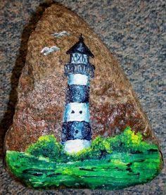 bemalter Feldstein Leuchtturm - Gartendeko (14070)