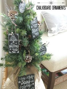 Chalkboard Christmas Ornaments - loving the new chalkboard trend! Hint: You can get stencil lettering at Hobby Lobby or Michael's. #falalalouisiana