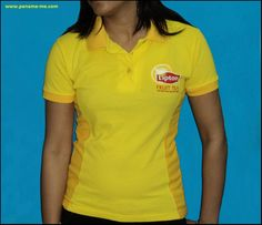 Customized Ladies Polo T-Shirts with Lipton Fruit Tea branding were produced for their Promoters. The logo was screen printed on the front LHS Chest & the back of the T-Shirts.