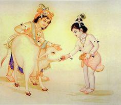 Krishna Balaram Feeding Cow (Reprint on Paper - Unframed))