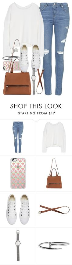 """""""Outfit for college with light blue jeans and converse"""" by ferned ❤ liked on Polyvore featuring Topshop, Helmut Lang, Casetify, Givenchy, Converse, H&M and Witchery"""