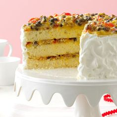 Southern Lane Cake Recipe -I just love this Southern-style dessert, and so do dinner guests. With pecans, cherries and raisins in the filling and topping, the recipe is reminiscent of a fruitcake—only yummier! Food Cakes, Cupcake Cakes, Cupcakes, Snack Cakes, Lane Cake, Chandeliers, Table Vintage, Vintage Cakes, Ricotta Cake