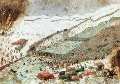 Napoleonische Kriege - Übergang über Beresina 1812 / Aquarell