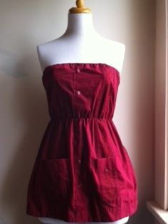 B.Link — L/XL Vintage Guayabera Dress - Burgundy