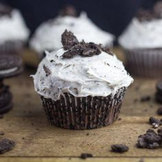 Chocolate Cupcakes with Cookies and Cream Frosting