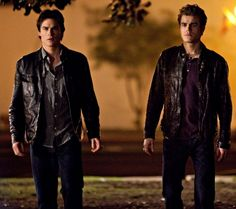 The Salvatore bros walking away and looking cool from The Vampire Diaries Season 7 Episode 2 Online Free Download Stream