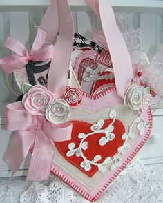 Valentine Tags in a Heart - can make this and others using chipboard, felt, ribbon, buttons, and more