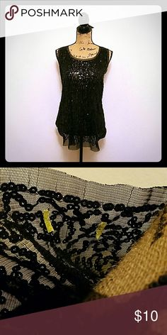 Black Sequin Tank Top! Black sequin tank top. Missing tag on neck, otherwise in great condition! Size XL. Tops Tank Tops