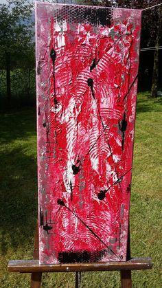 acrylique et papier de soie rouge,blanc et noir  30x80
