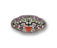 ART DECO DIAMOND AND COLORED STONE BROOCH, FRENCH, CIRCA 1920.  The lobed oval plaque decorated with a flowering tree, the branches of calibré-cut onyxes bearing cabochon and calibré-cut demantoid garnets and cabochon amethysts representing blossoms, the pot of carved coral, within a ground of rose-cut diamonds, mounted in platinum, 1 small diamond missing, maker's mark, French assay marks.