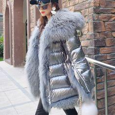 Maomaokong Brand Women Winter Down Jacket Coat Long Warm Silver Parkas Mongolia Sheep Fur Duck Down Coat Parka 2002 Coats For Women, Clothes For Women, Girl Sleeves, Down Coat, Winter Fashion, Fur Coat, Winter Jackets, Women's Winter Coats, Winter Parka