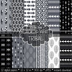 "Papel digital tribal: ""Negro & blanco TRIBAL"" con patrones tribales y fondo…"