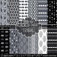 """Papel digital tribal: """"Negro & blanco TRIBAL"""" con patrones tribales y fondo…"""