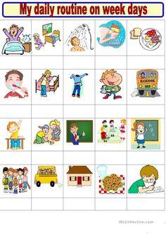 Daily routine on week days matching + writing - English ESL Worksheets English Worksheets For Kids, English Lessons For Kids, French Lessons, Teacher Worksheets, Vocabulary Worksheets, Printable Worksheets, Daily Routine Worksheet, Daily Routine Activities, Family Tree Worksheet