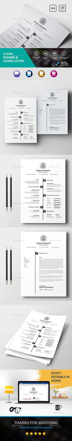 Clean Resume & Cover Letter Template PSD, Vector EPS, InDesign INDD, AI Illustrator, MS Word