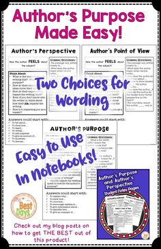 Are you looking for a great way to teach students the difference between Author's Purpose and Author's Point of View?   This is it!  This easy to use product is not only simple, but it is full of useful information.  Students learn what each is, guiding questions, think about statements, and answer stems.  All of this in a print in go product!  Find it today at The Best Days!