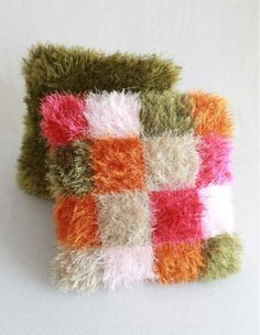 """Watch the Fun Fur Throw Pillows Crochet Pattern product review video! Design By: Maggie Weldon Skill Level: Easy Size: 15"""" wide x 15"""" tall Materials: Worsted Weight Yarn and Lion Brand® Fun Fur Yarn C"""