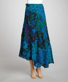 Turquoise Patchwork Reversible Wrap Skirt