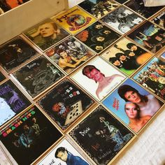 Love these coasters at our fair at St Martins House today! Leicester, Bowie, The Beatles, Coasters, Prince, Photo Wall, Polaroid Film, Christmas, Handmade