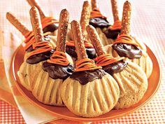 "Flying Brooms | Whether you're greeting trick-or-treaters at the door or taking cookies to a Halloween party, get into the fun of the season with these ""not-too-scary"" Halloween treat recipes."
