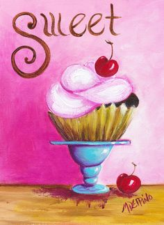 Large pink sweet cupcake print kitchen bakery by AdoraArt on Etsy, $22.00