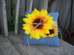 Sunflower Ring Pillow Sunflower Wedding Denim Wedding by OneFunDay, $25.00