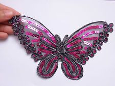 1 large pink lace butterfly patch sequin applique motif iron on sew on craft UK