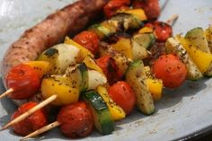 Marinated vegetables skewers - Megan Home Vegetable Skewers, Marinated Vegetables, Bbq Skewers, Kebabs, Skewer Recipes, Veggie Recipes, Chicken Recipes, Barbecue Recipes, Grilling Recipes