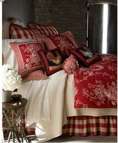 French Country bedroom in red and creamy white~
