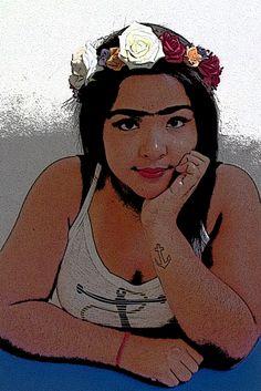 CORES DE FRIDA KAHLO, CORES. // Este autorretrato traz inspiração na artista Frida Kahlo, uma Frida dos dias de hoje, moderna, mas sem tirar sua essência. A mulher guerreira, sentimental, forte e que explora bastante o seu lado sentimental. A mulher que não liga pra opiniões e nem pra esteriótipos.  Julia Marcia de Aquino Rafael - 1001
