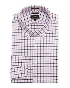 Trim Fit Basket-Check Dress Shirt, Pink by Neiman Marcus at Neiman Marcus Last Call.
