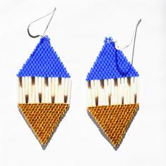 Quill Beaded Diamond Shaped Earrings