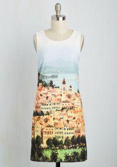 By All Scenes Dress - Multi, White, Novelty Print, Print, Casual, Sundress, Shift, Sleeveless, Spring, Woven, Good, Mid-length