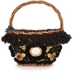 Dolce & Gabbana Agnese pompom-embellished basket bag ($4,882) ❤ liked on Polyvore featuring bags, handbags, straw handbags, white handbags, embroidered purse, woven purse and woven straw handbags