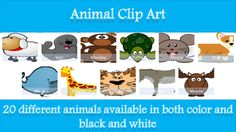 A set of animal clip art available to use for both personal and commercial use.20 animals are included, both in colour and in black and white. These include:CatSheepLionDonkeySealOwlDolphinMonkeyBearHippoGiraffeMoosePigDogWhaleFishTigerMouseFoxTurtleTerms of use: Free for personal and commercial useAcknowledgement not necessaryNot for repackaging and selling