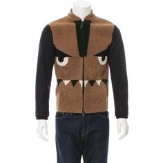 Pre-owned Fendi Shearling Monster Jacket ($1,295) ❤ liked on Polyvore featuring men's fashion, men's clothing, men's outerwear, men's jackets, brown, mens zip jacket, mens blouson jacket, mens flight jacket, mens shearling jacket and mens brown jacket