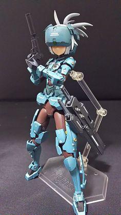 Cyberpunk Anime, Mecha Anime, Character Concept, Character Art, Character Design, 3d Figures, Action Figures, Frame Arms Girl, Tech Art