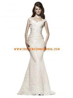 Spaghetti Straps Mermaid Ruched Satin Designer Bridal Gowns Dress 2013