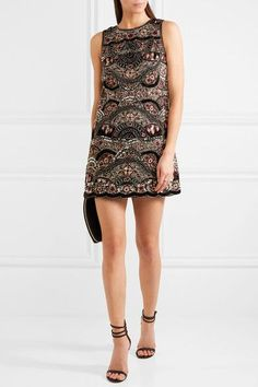 Alice Olivia - Sherley Embellished Silk-chiffon Mini Dress - Black - US10
