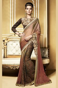 The New Come Brown Shaded Metal Chiffon Designer Party Wear Saree with Dhupian Blouse. Buy Now :- https://goo.gl/tJ5eBz Cash On Delivery & Free Shipping only in India.For Other Query Just Whatsapp Us on +91-9512150402 Or Mail Us at info@lalgulal.com.