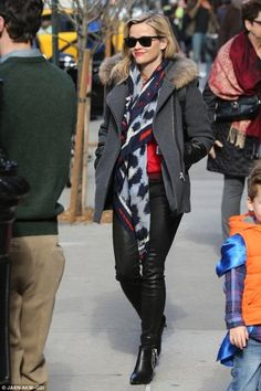 Reese Witherspoon wearing Ray-Ban 2132 New Wayfarer Sunglasses, Saint Laurent Double Zipper Booties, Sandro Maddy Fur Hood Coat, Miansai Gold Plated Screw Cuff, Frame Le Skinny Leather Pants, Kenzo Leopard Scarf, Proenza Schouler PS Large Leather Backpack and Tory Burch Iberia Cashmere Sweater