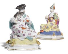 A pair of Meissen figures of a Chinese man and a Chinese lady,modelled by J.F Eberlein, circa 1735.